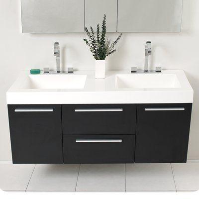 Fresca Senza Opulento 54 Double Bathroom Vanity Set With Mirror