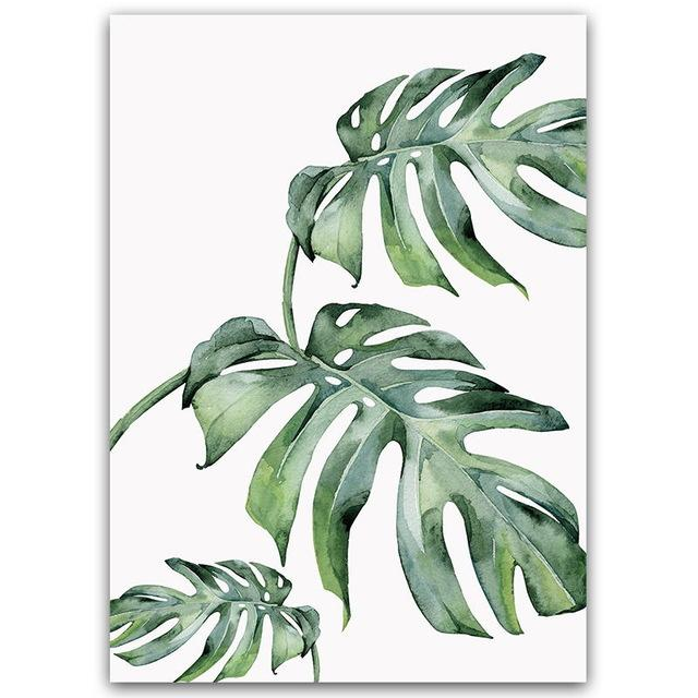 Watercolor Plant Green Leaves Canvas Painting Art Print Poster