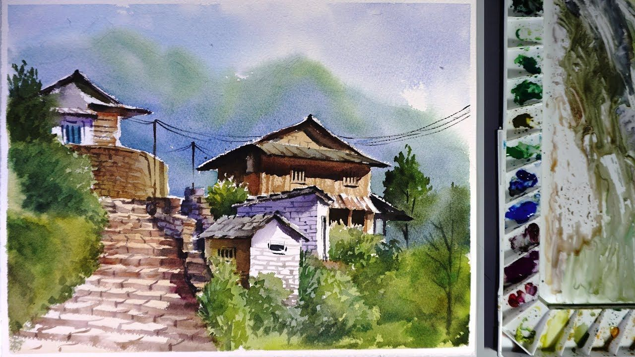 Watercolor Landscape Painting Ghandruk Village Youtube Con