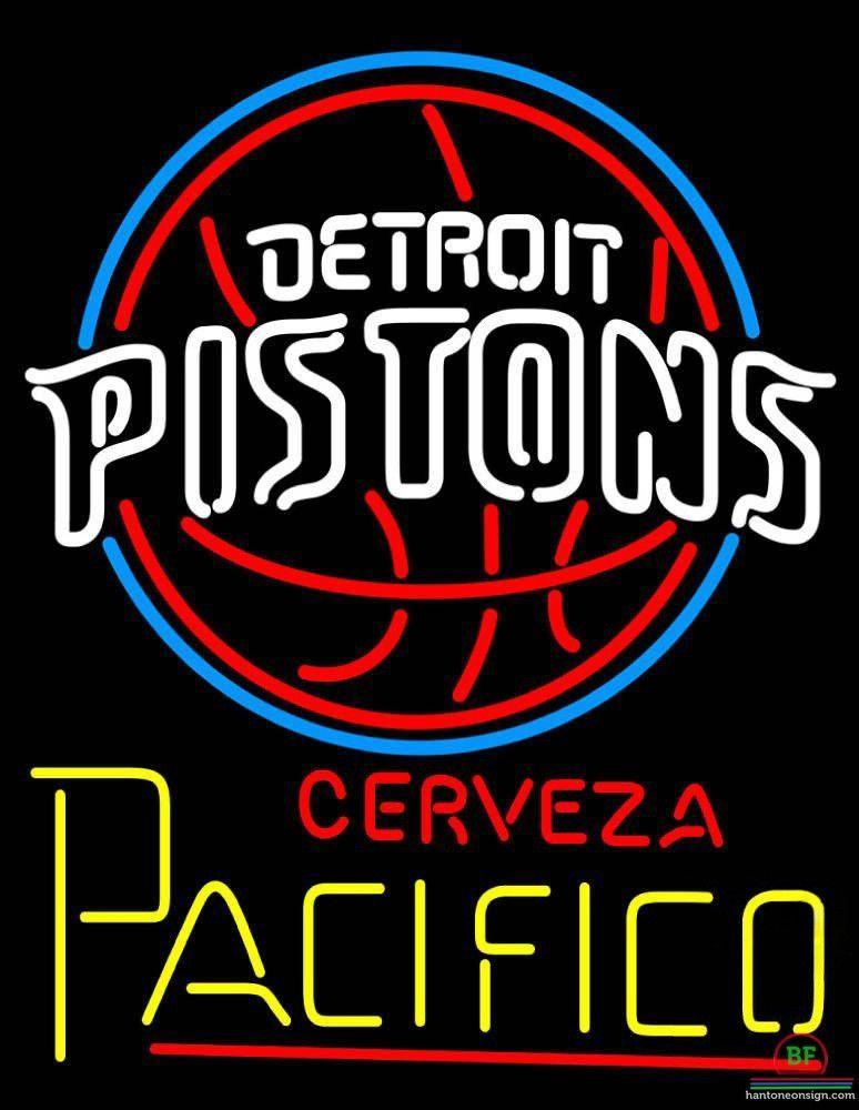 Cerveza Pacifico Detroit Pistons Neon Sign NBA Teams Neon