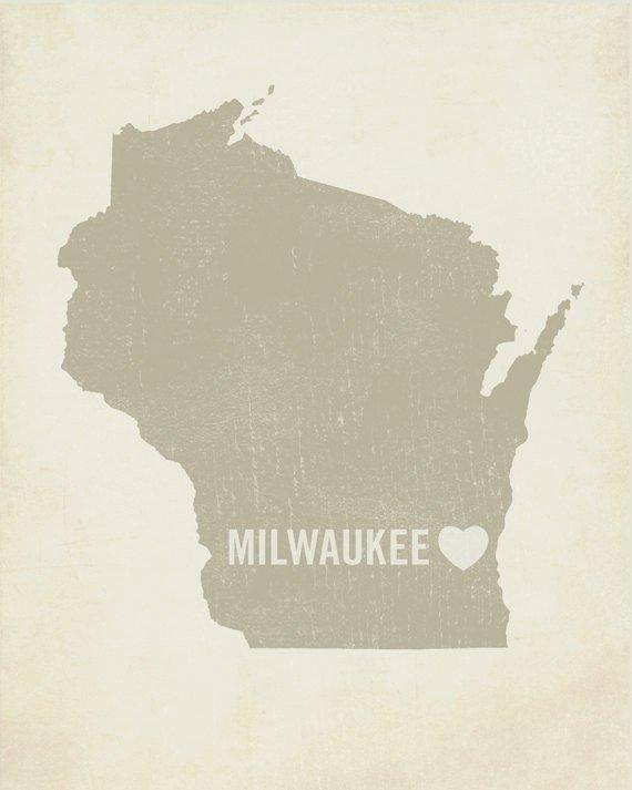 Milwaukee State Map.Milwaukee Art Milwaukee Map Milwaukee Print Wood Block Art