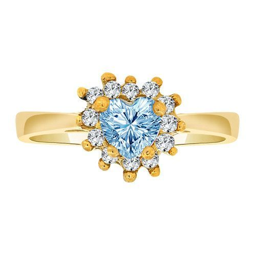 14k Yellow Gold, Dainty Heart Shape Ring Mar Birth Color Cubic Zirconia (R202-203)