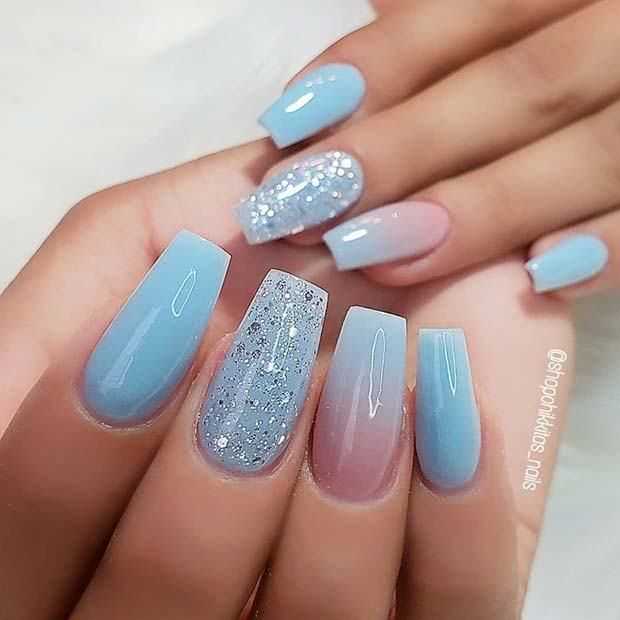 13 Nail Design Ideas To Inspire Your Next Manicure 4 Gold Glitter And Matte Black Coffin Nails Manic Blue Coffin Nails Blue Acrylic Nails Blue Ombre Nails
