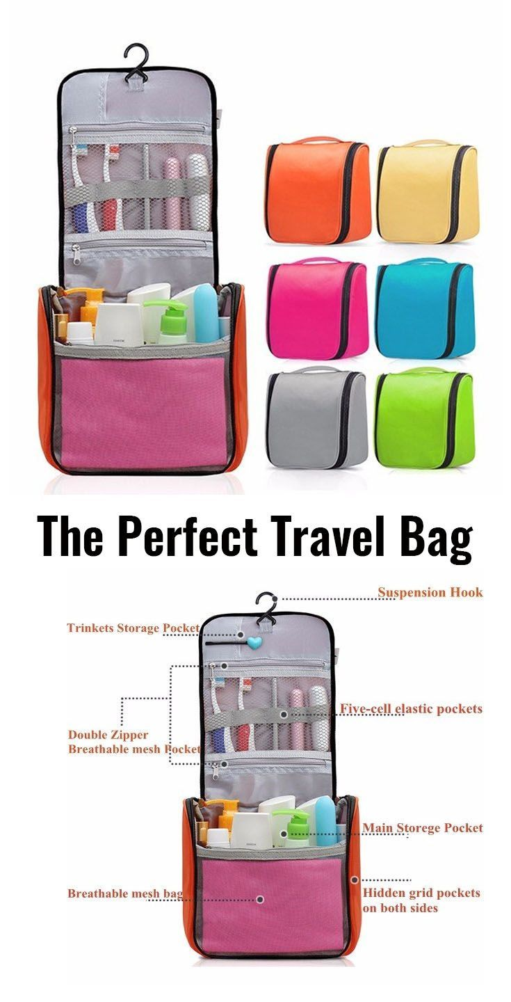 Great travel wash cosmetic/makeup hanging bag. 6 colors to