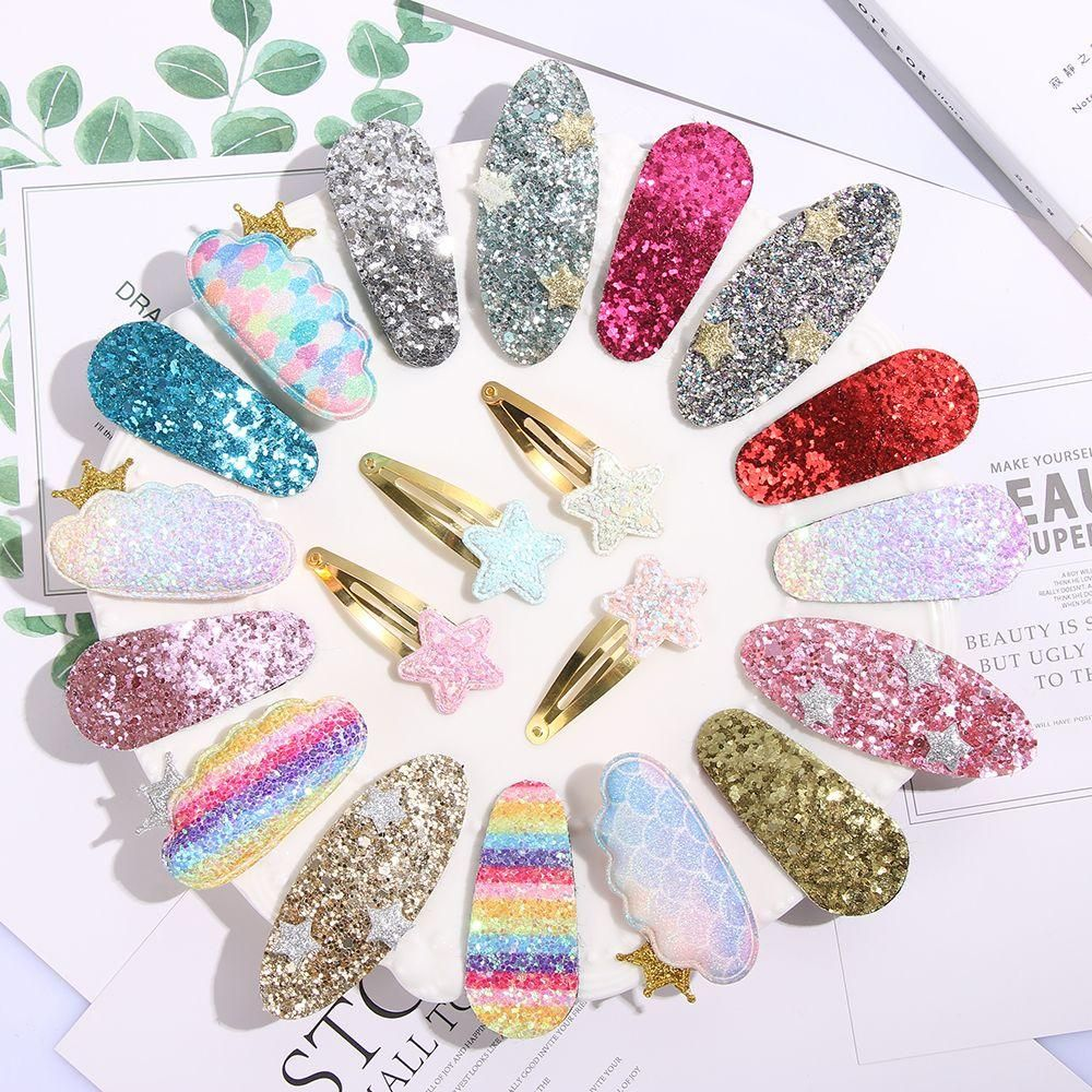1 Pair Sequins Shiny Hairpins Girls Rainbow BB Hair Clips Barrettes Kids Baby Hair Accessories