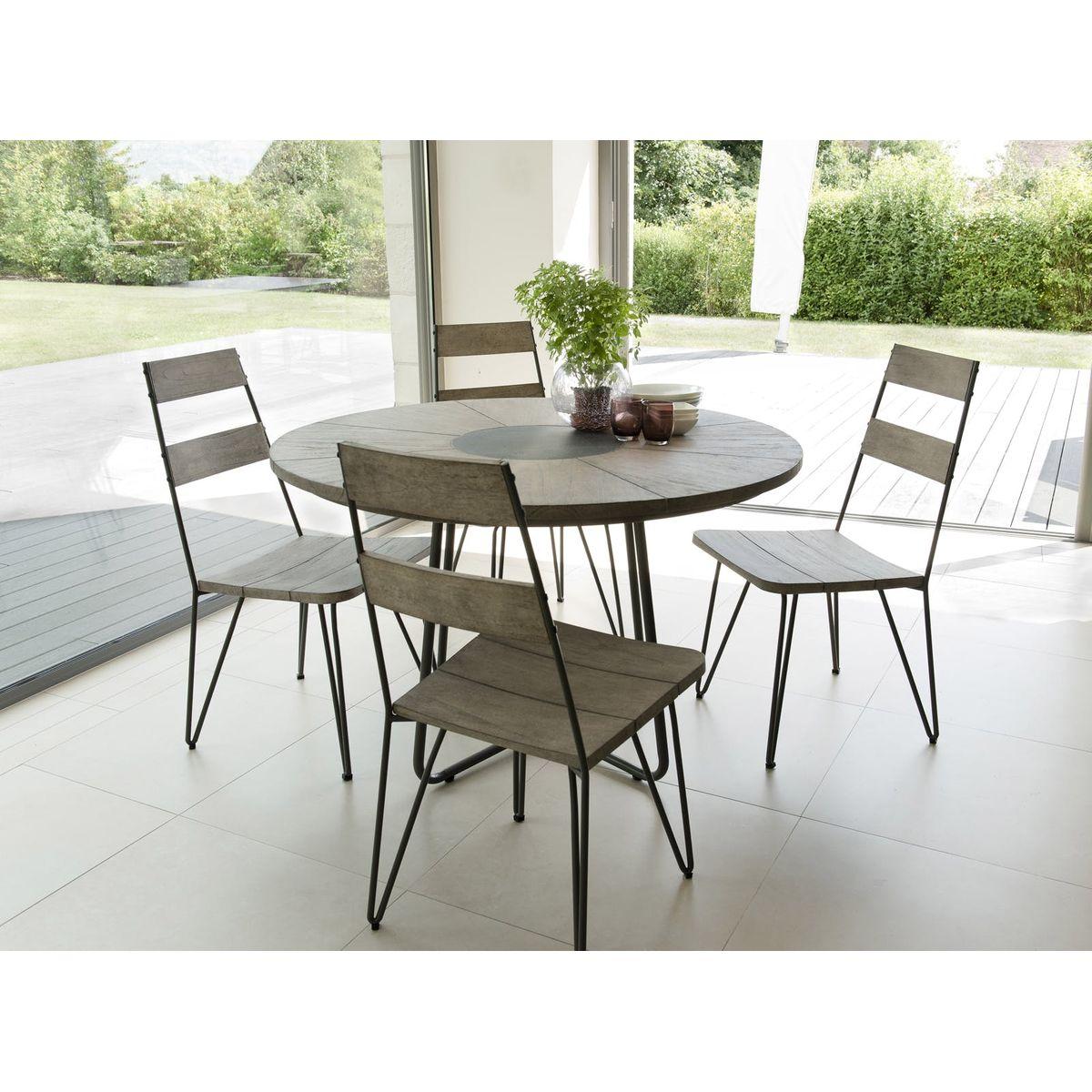 Salon de jardin table d\'extérieur ronde en bois teck grisé ...