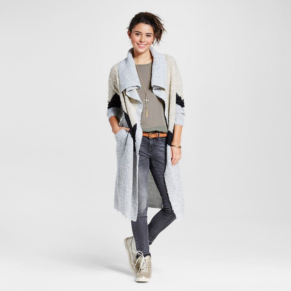 Women's Boucle Maxi Waterfall Cardigan Grey XL - Love @ First ...
