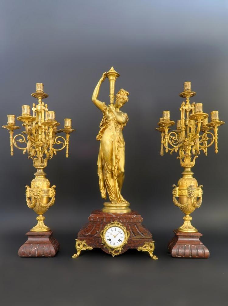 Very Fine 19th C. Bronze & Rouge Marble Clock Set