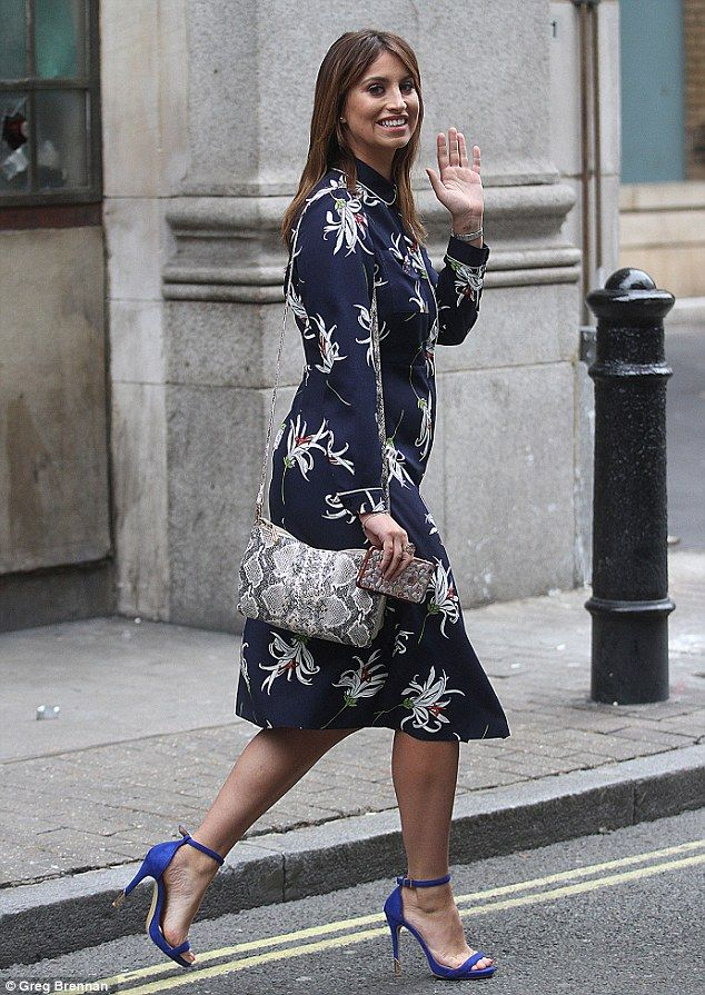 5b80ff0e7 Ferne McCann in a chic blue Dorothy Perkins dress adorned with a bold  floral print design