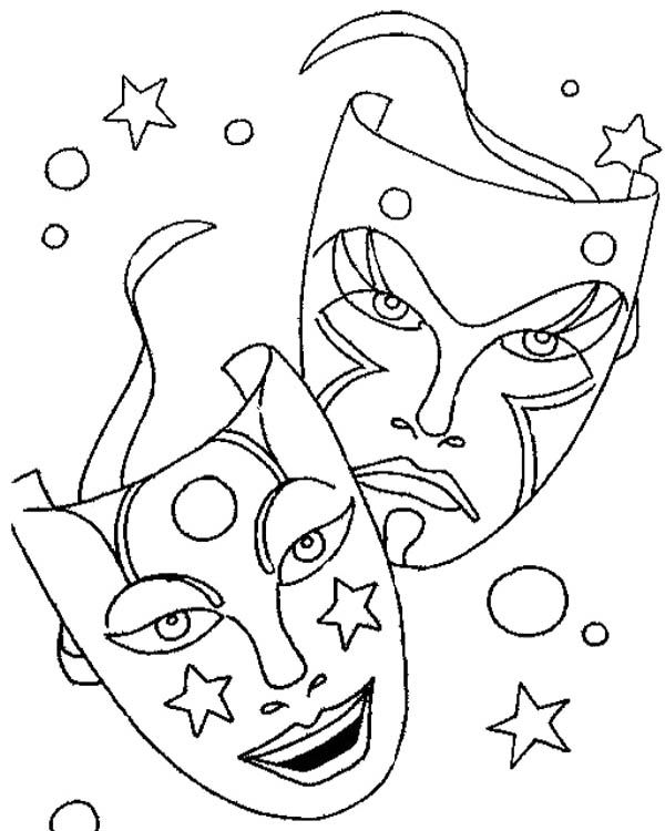 Comedy Tragedy Mask As Mardi Gras Symbol Coloring Page | Comedy ...