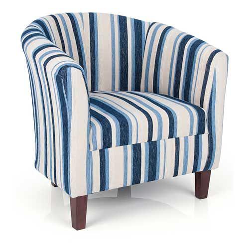 Best Urban Blue Striped Fabric Tub Chair With Wooden Feet 400 x 300