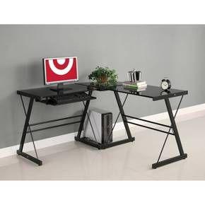 Glass L Shaped Computer Desk With Keyboard Tray Black Saracina Home Glass Corner Desk Glass Computer Desks Home Office Furniture