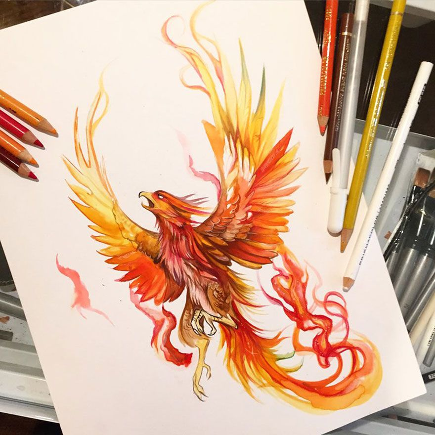 Wild Animal Spirits In Pencil And Marker Illustrat