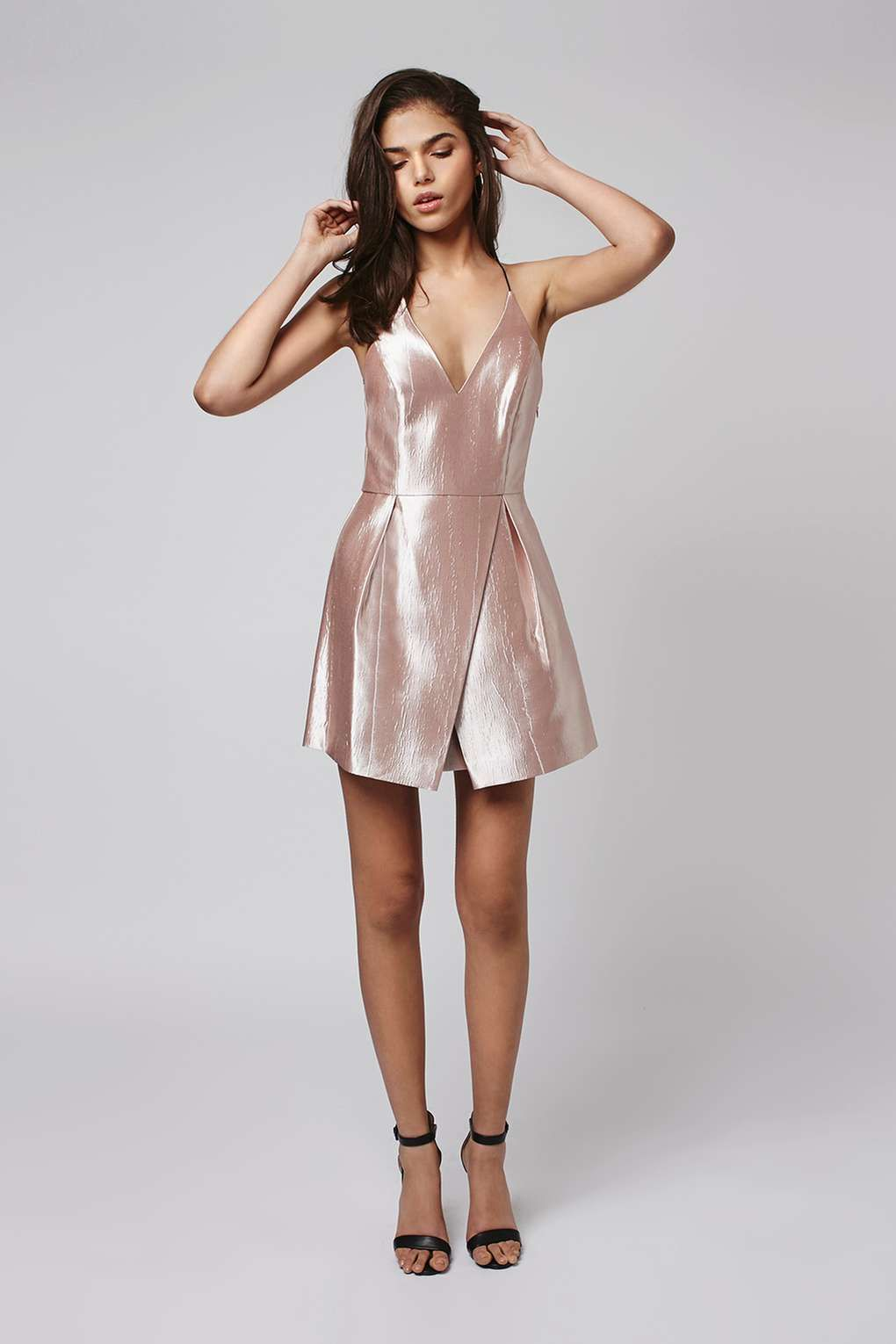 Crinkle Satin Plunge Dress