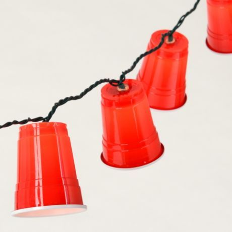 Red Party Cup Lights - easy!!! how about red, white and blue??