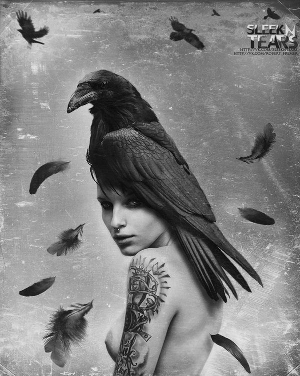 ca10e572 A raven on a nude woman...art beauty | Art & Photography | People ...