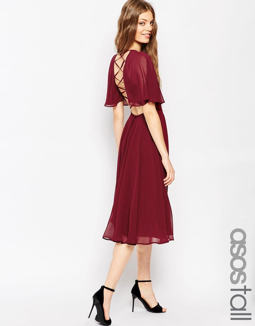 Asos Womens Tall Lace Up Back Caftan Sleeve Midi Dress Oxblood - Dresses