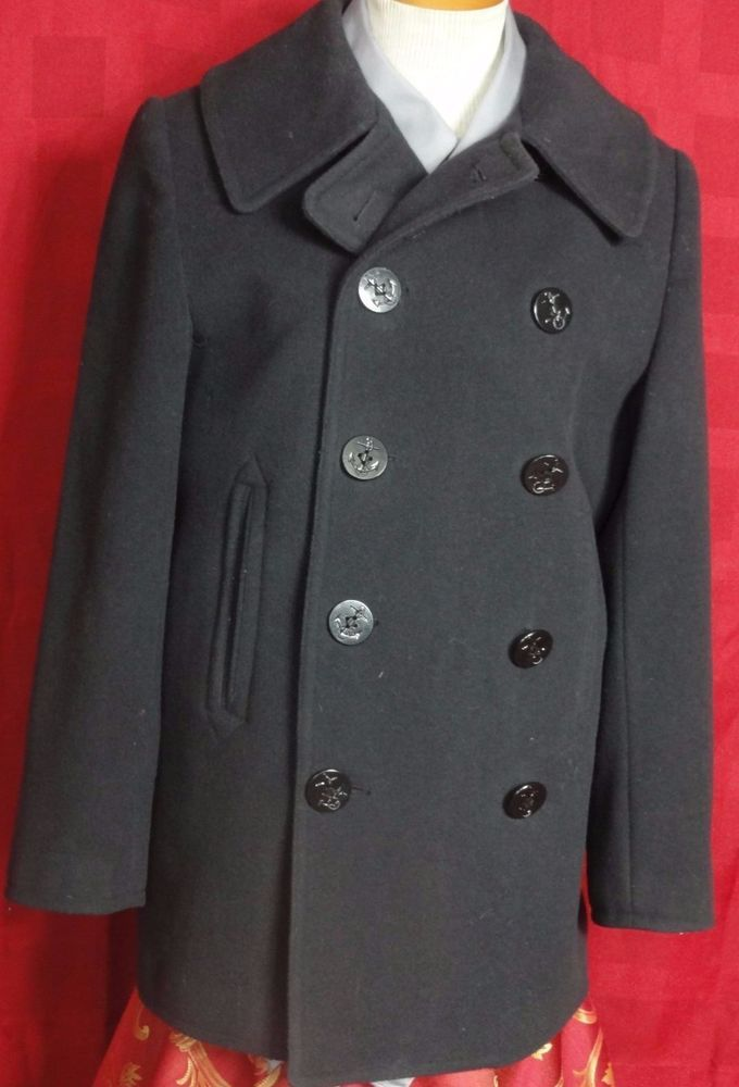 The J.Peterman Company, Women's 100% Wool U.S, Navy .blue Lined ...