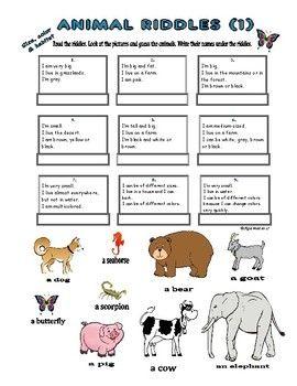 animal riddles 1 size habitat colors agamat esl english teacher 39 s worksheets animal. Black Bedroom Furniture Sets. Home Design Ideas