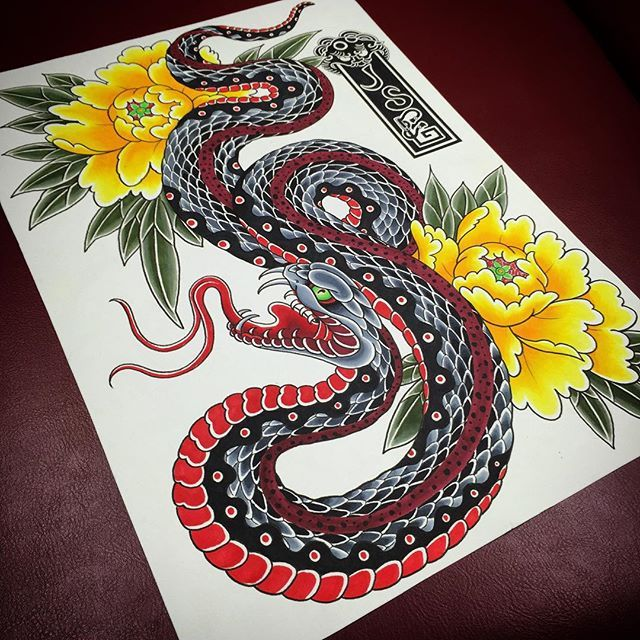 A Painting Tattoo Tattoos Tattooart Snake Japan Japanesetattoo Japanesecollective S Japanese Tattoo Japanese Snake Tattoo Traditional Japanese Tattoos