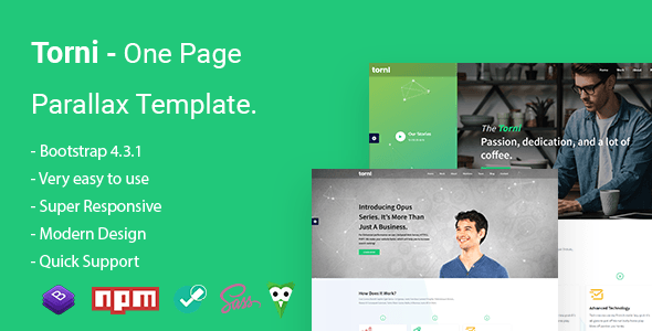 Torni One Page Parallax Template Stylelib Templates Html5 Templates Start Up Business