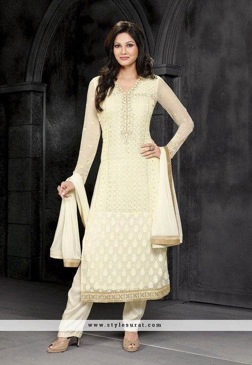 Mindblowing Cream Color Faux Georgette Fabric Straight Long Salwar Suit