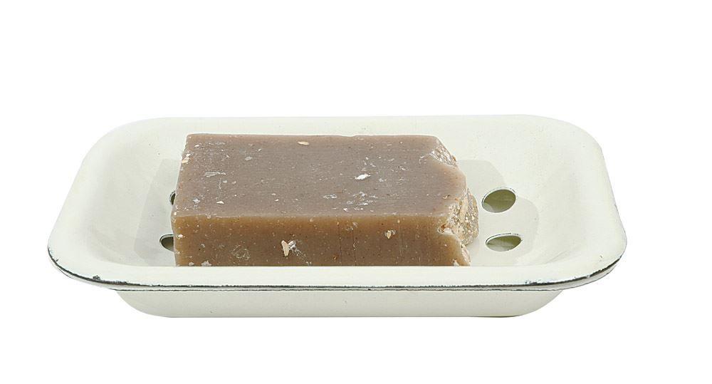 "vintage farmhouse enamel soapdish . . . with tray to keep soap dry  enamel metal 6"""