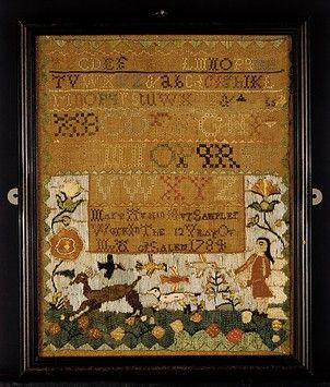 American Sampler ~ Mary Austin (born 1773) 12 years old ~ 1784 ~ New England, Salem, Massachusetts, United States ~ silk on linen, embroidered ~ The Metropolitan Museum ~ Inscription: inscribed in lower center: MArY Austin Her SAMPLEr / Work In ThE 12 YEAr OF / MY A[ge] of SALEM 1784