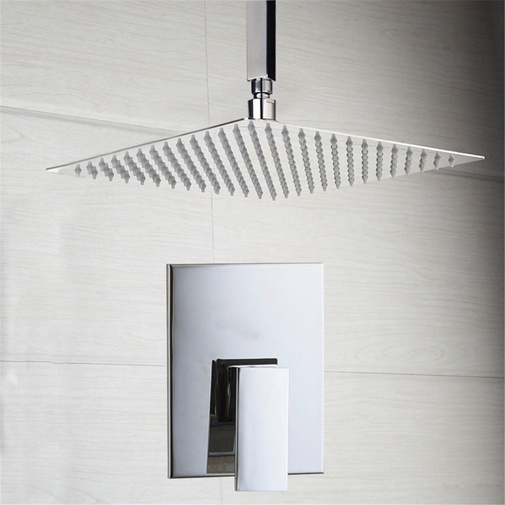 """42.14$  Watch now - http://alilv5.worldwells.pw/go.php?t=32684017288 - """"8"""""""" Bathroom Ceiling Mount Ultra-thin Rainfall Shower Head&Control Valve Wall Mounted Hot&Cold Water Mixer Taps Shower Sets"""" 42.14$"""