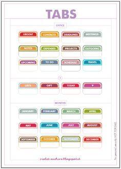 Printable Tabs Calendar Months Schedules To Do S Etc Filofax
