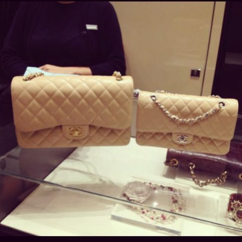 d89a0101026713 Chanel Jumbo & medium classic flap beige gold, silver, caviar ❤Follow me on  Instagram : @luxuryfashion_blog 🎀