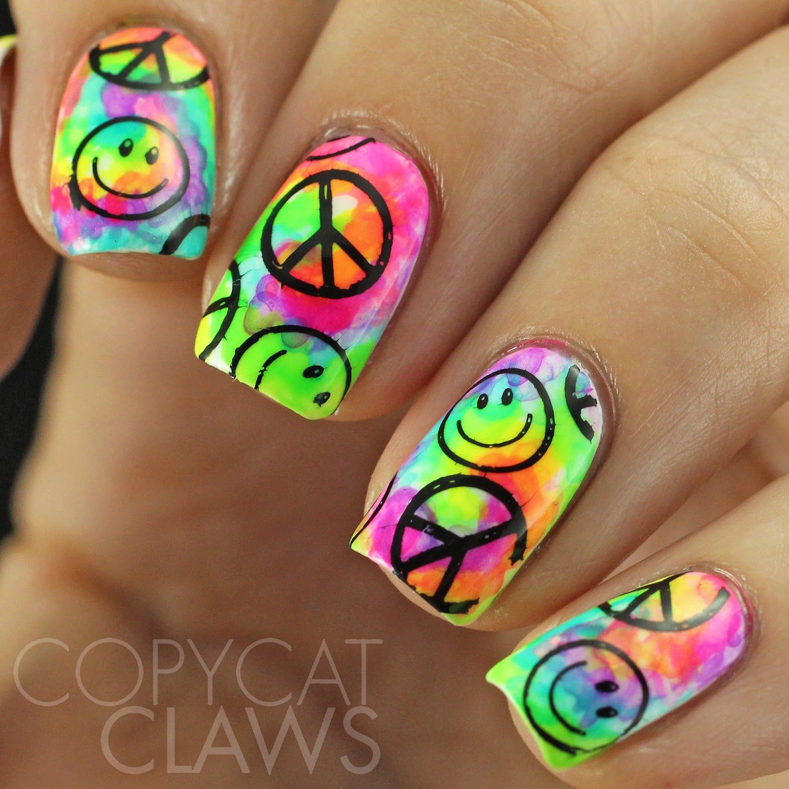 Copycat Claws: Tie Dye Nails With Stamping | Creative Nail Art ...