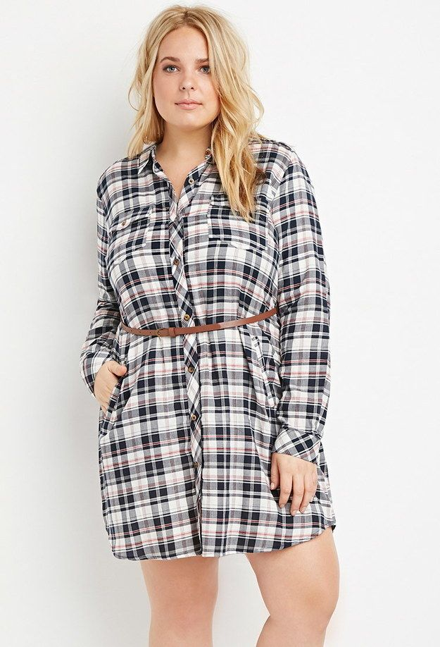 ab2134348c7 This belted plaid shirt dress ($24.90): | 38 Highly-Rated Forever 21 Items  That People Actually Swear By
