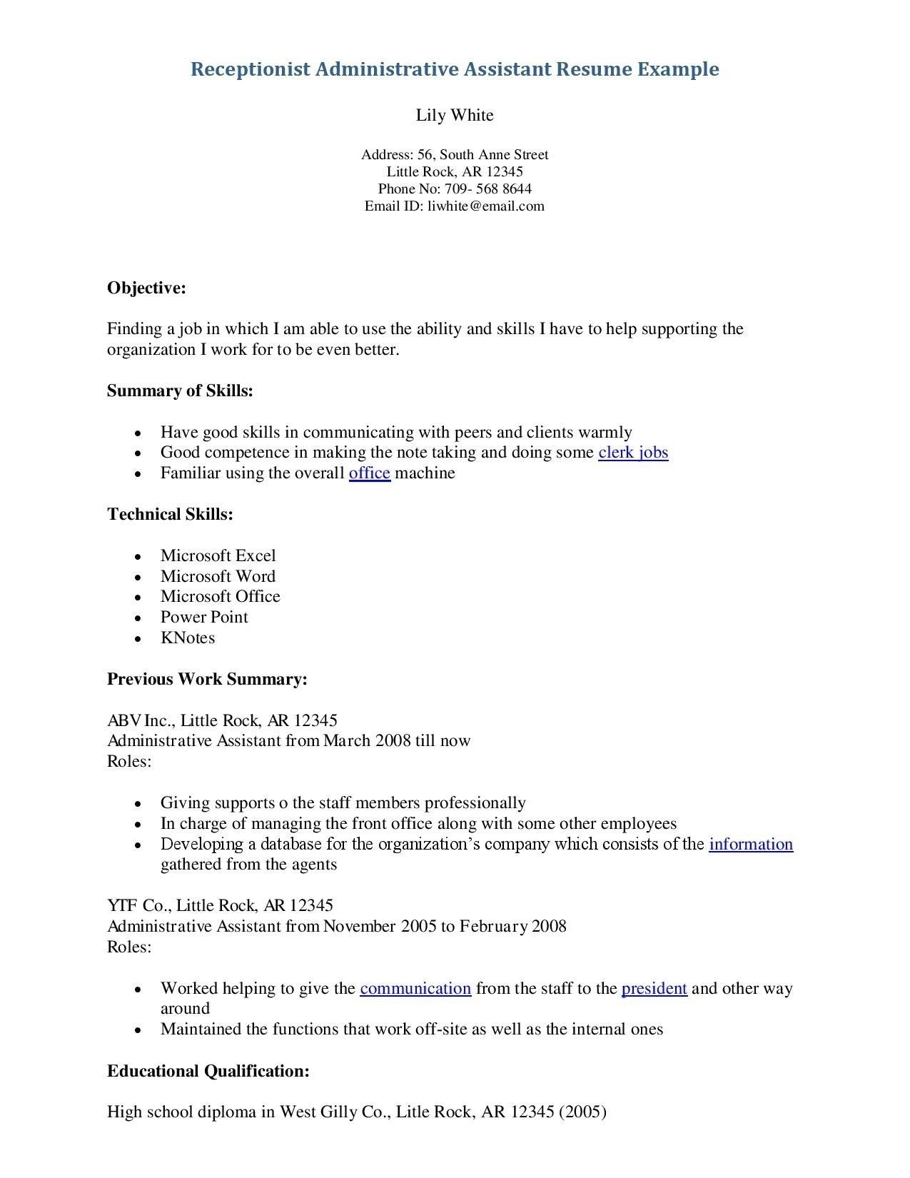 75 Inspiring Gallery Of Resume Examples For Receptionists Check More At Https Www Our Administrative Assistant Resume Resume Skills Resume Objective Examples