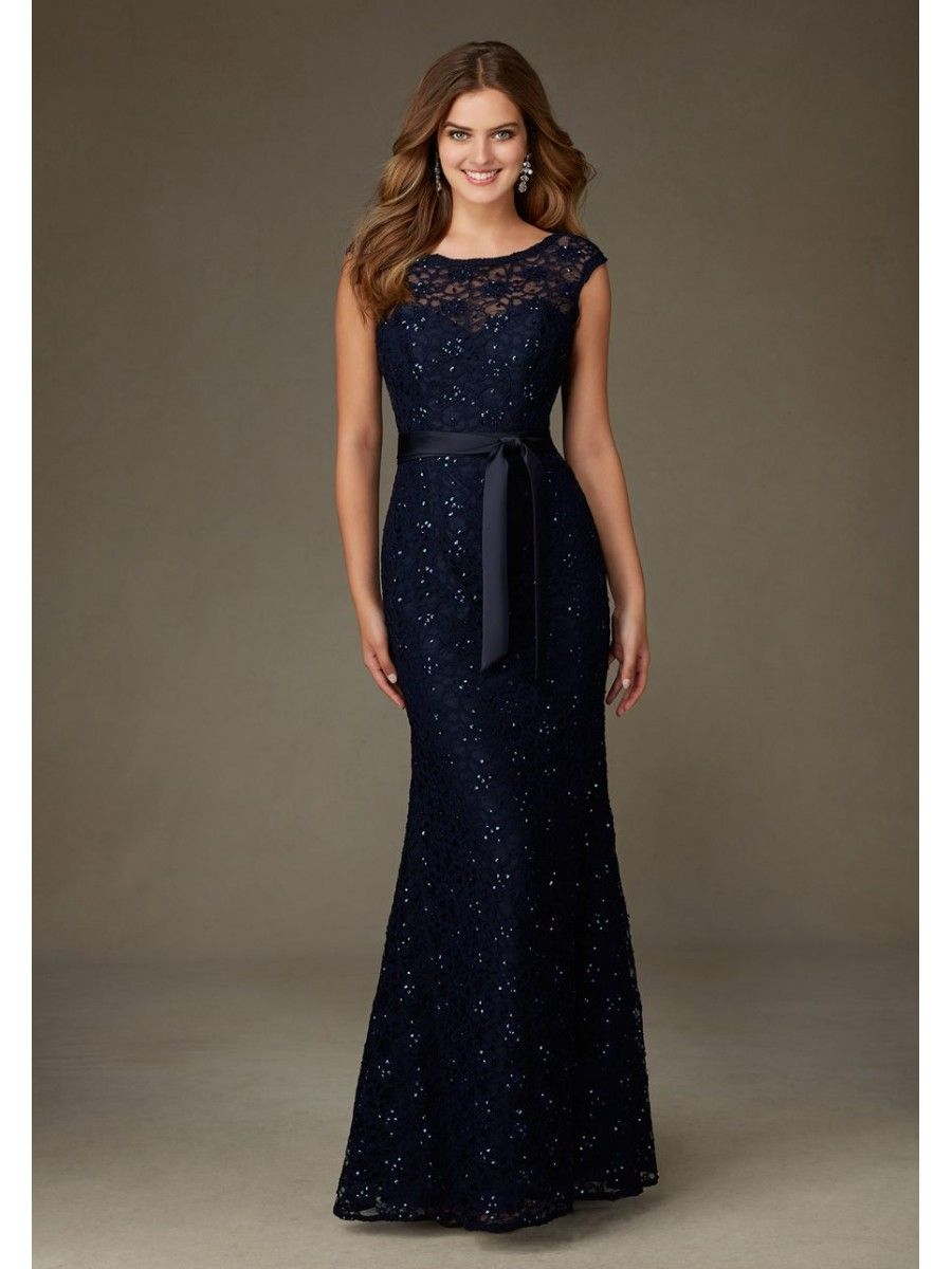 Affordable Bateau Long Navy Lace Bridesmaid Dresses