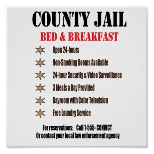 Jail B&B Print   Zazzle com is part of Correctional officer humor - Shop Jail B&B Print created by Investig8tr  Personalize it with photos & text or purchase as is!