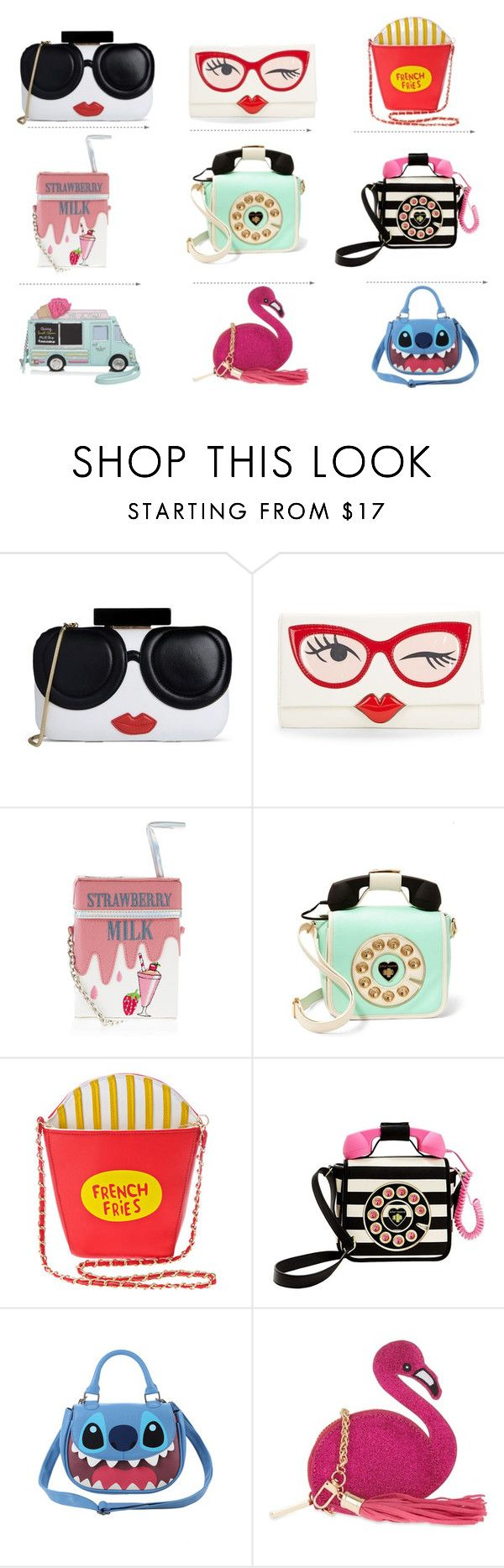 """""""funny bags and clutches"""" by dida71485 ❤ liked on Polyvore featuring Alice + Olivia, Kate Spade, Accessorize, Betsey Johnson, 3AM Imports, Disney and Skinnydip"""