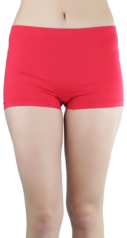 da9d6b5a8 Women s Classic Solid Polyester Blend Basic Boyshorts - Red ...