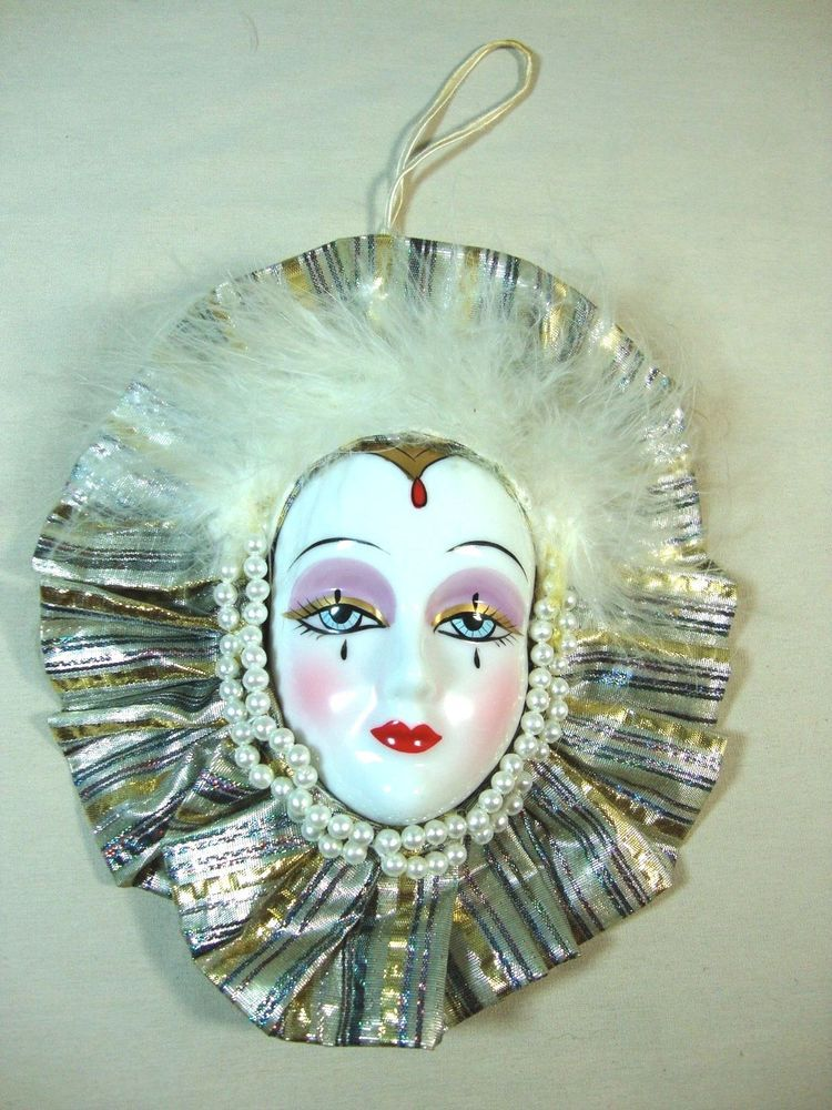 "Lady Face Mask Small Wall Hanging Decor 7"" Mardi Gras"