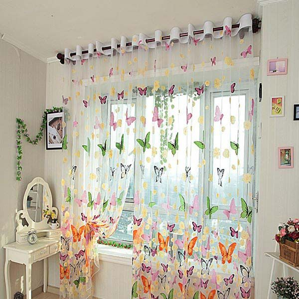 Butterfly Printed Sheer Window Curtains Tulle Door Window Screen Home Textiles From Home And Garden On Banggood Com Window Curtains Curtains Room Divider Curtain