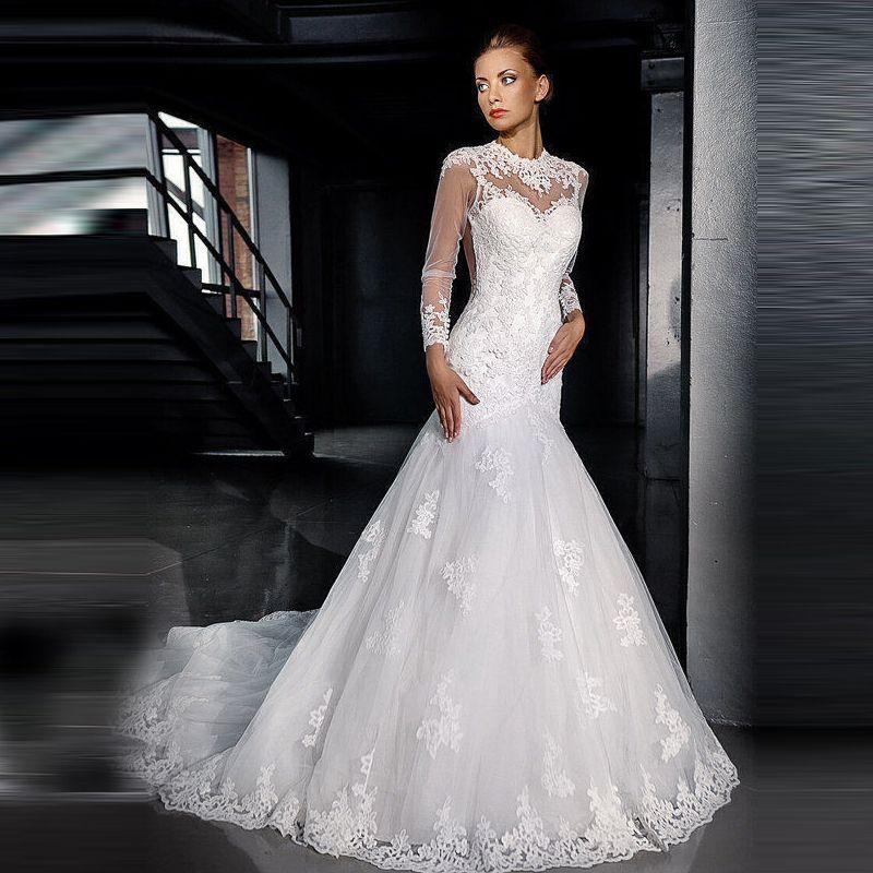 2017 New Long Sleeve Lace Wedding Dresses turkey Mermaid Chapel ...