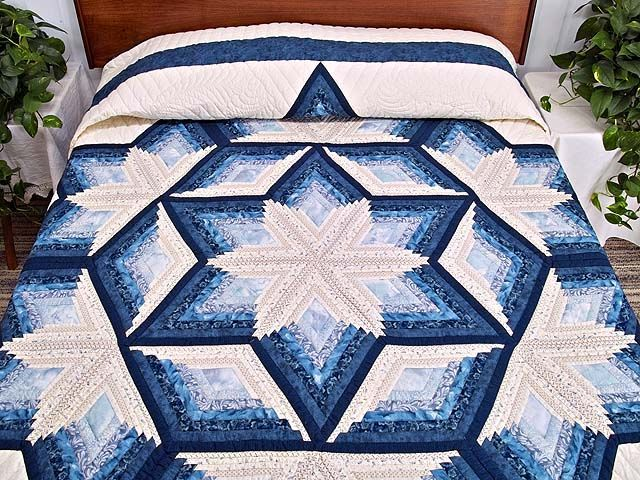 Diamond Star Log Cabin Quilt Outstanding Cleverly Made Amish Quilts