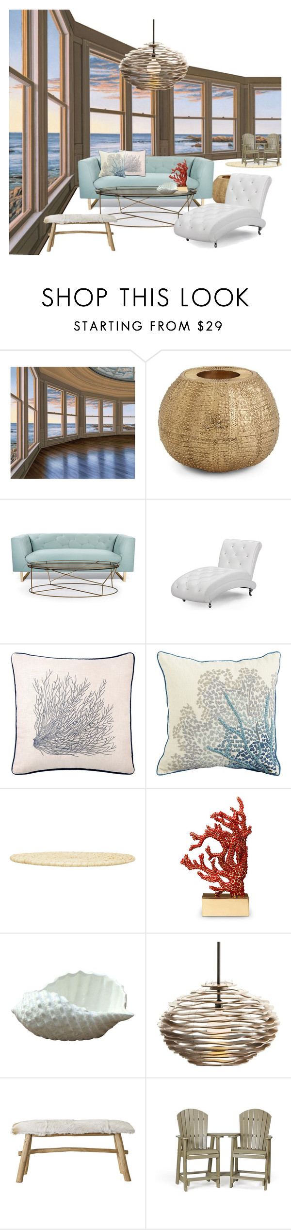 """""""Ariel's home (The Little Mermaid)"""" by cleopxtrx-home ❤ liked on Polyvore featuring interior, interiors, interior design, home, home decor, interior decorating, Future Media Development, AERIN, Nimbus and Baxton Studio"""