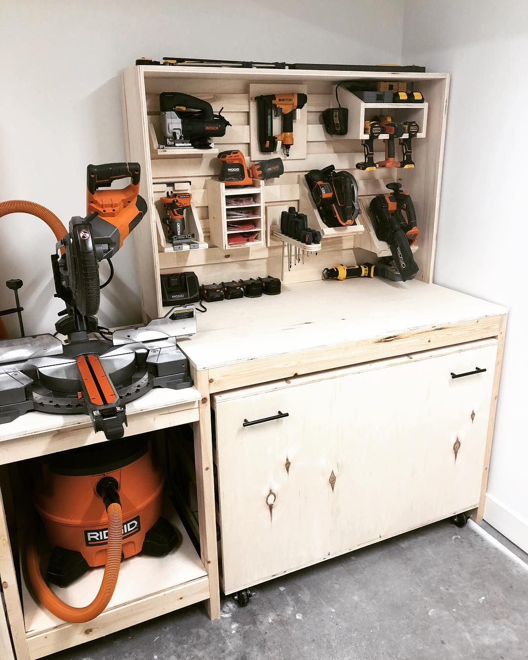 Finished Off The French Cleat Tool Wall With The Addition Of My Ridgid Gen5x Circular Saw And Belt Woodworking Jigsaw Home Organization Hacks Mitre Saw Station