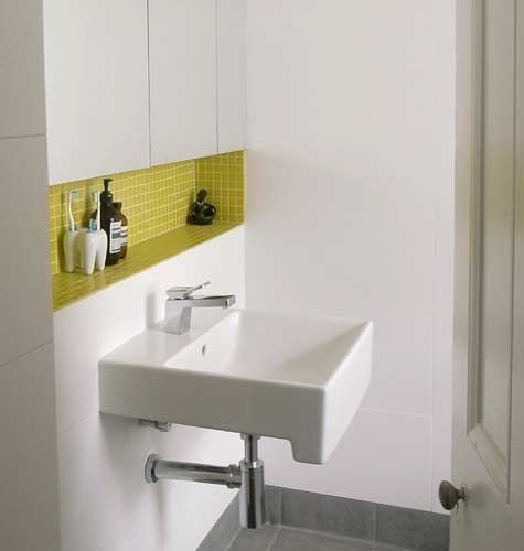 Recessed Shelf Above Sink Interesting Bathroom Nook The Bright Pop Of Color Adds Drama
