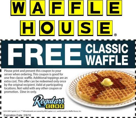Wafflehouse Com Promo Coupon Free Waffle At Waffle House Waffle House Waffles Shopping Coupons