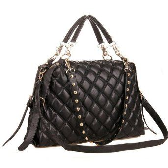 MIZU Black Trendy Diamond Quilted Versatile Studded Straps Office Tote Hobo Top Double Handle Satchel Handbag Purse Shoulder Bag by MyGift: Price: 	$34.50