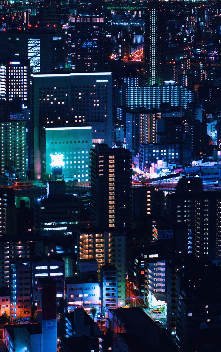 Lights Citypunk Buildings Dark Night 840x1336 Wallpaper Photography Wallpaper Cityscape Wallpaper Night City