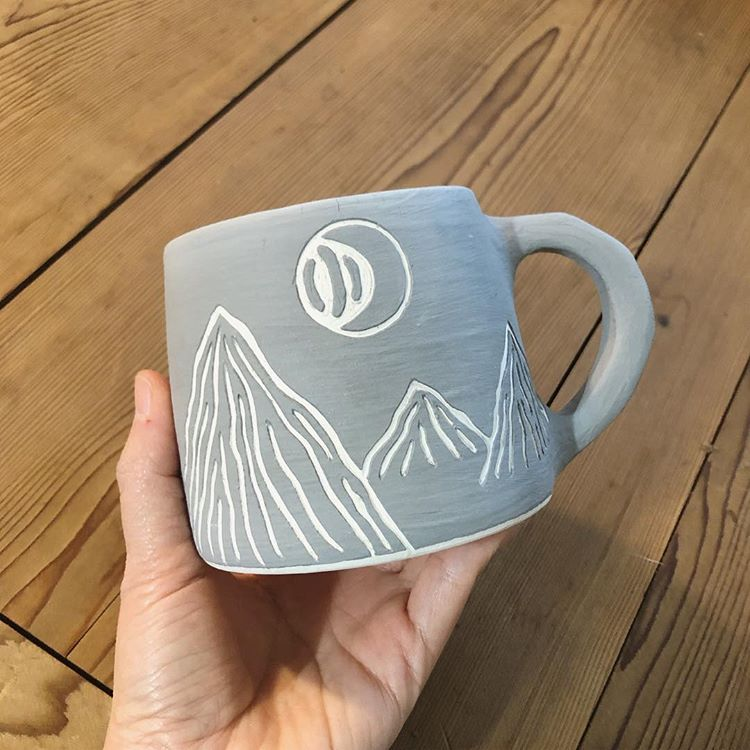 "M e e on Instagram: ""New #sgraffito technique #mountains :)"" #mugart"