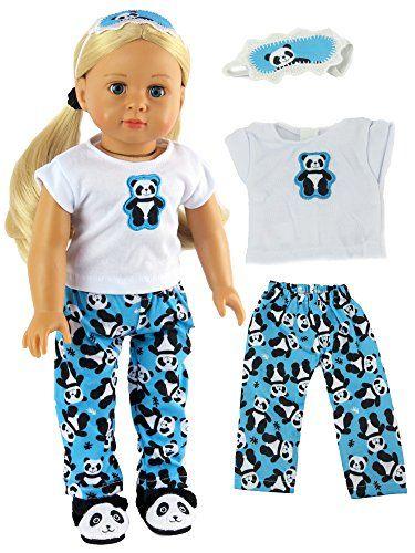 "Panda Bear Pajamas with Sleep Mask made for 18/"" American Girl Doll Clothes"